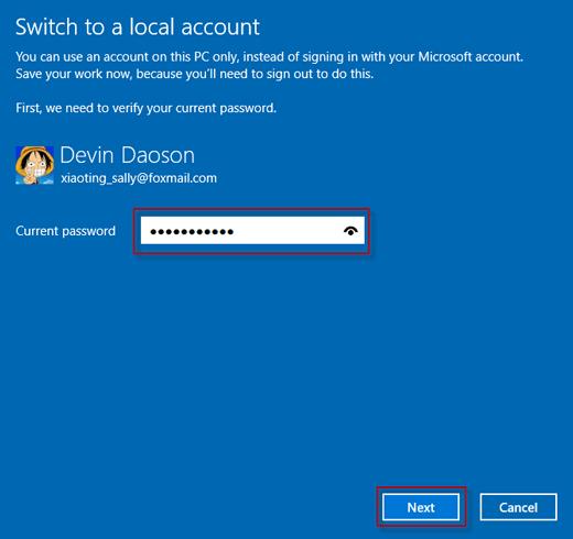 remove windows 10 microsoft account