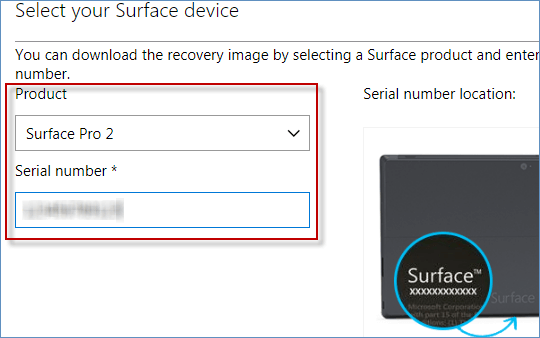 select product and enter serial number