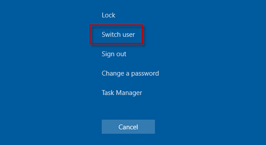 Select Switch user on the screen