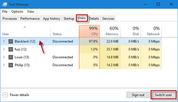 Switch user in Task Manager