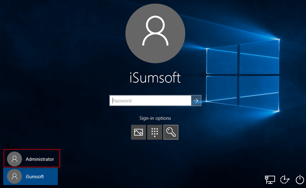 Unlock Windows 10 with another administrator