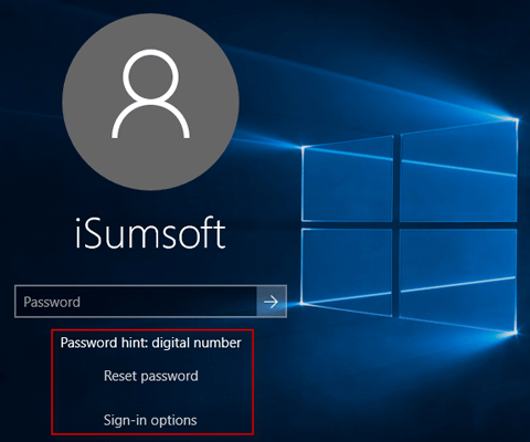 reset forgotten user password windows 10