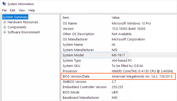 Check BIOS version and date in Windows 10
