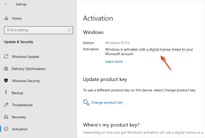 Windows is activated with a digital license