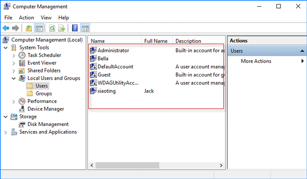 list user accounts in computer management