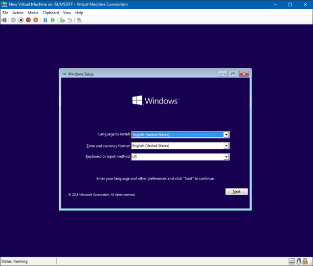 Install Windows 10 in virtual machine