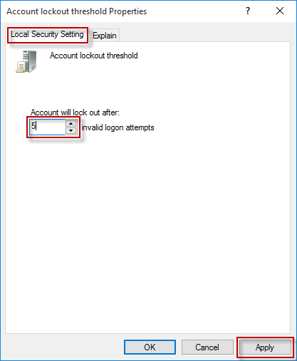 change the number of invalid logon attempts
