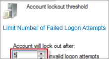 limit the number of failed logon attempts
