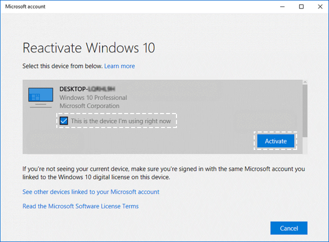 Windows 10 activation troubleshooter