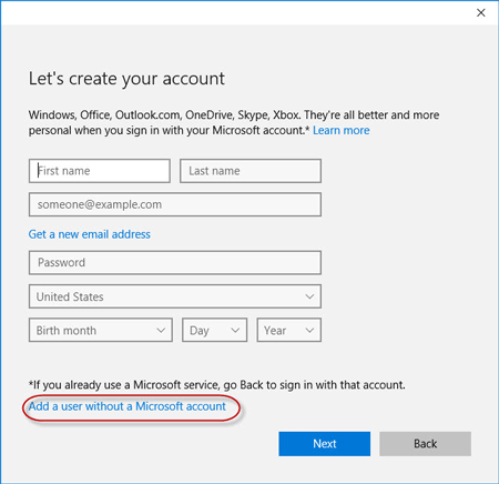 Add user without Microsoft account