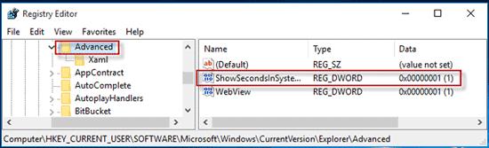 How to Show Seconds in Windows 10 Taskbar Clock