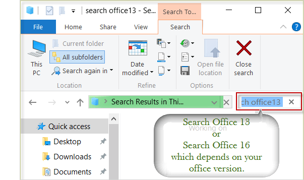 search office 2013 in search box