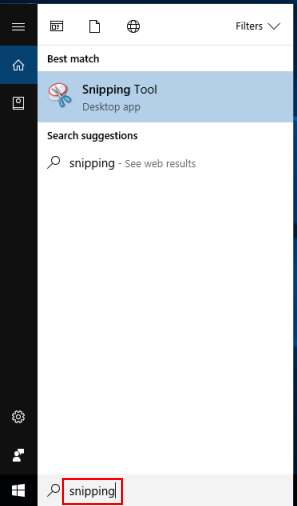 Launch Snipping tool from Search