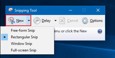 take a screenshot with the Snipping Tool