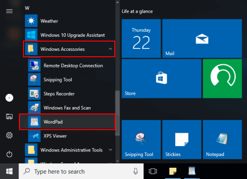 how to open and use wordpad in windows 10