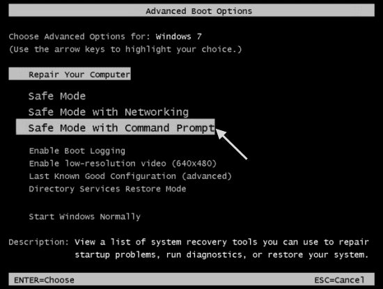 Safe mode with Command Prompt