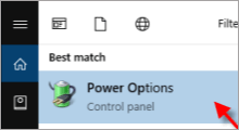 open power options