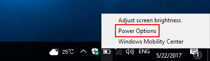 Open Power options from Power icon