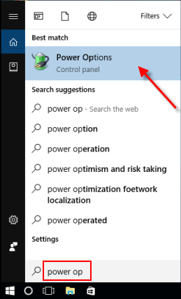 Open Power options window from Search box