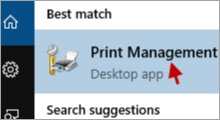open print management in Windows 10