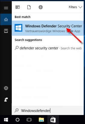 Open Windows Defender Security Center by searching it