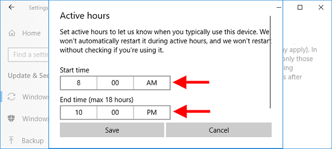 set active hours