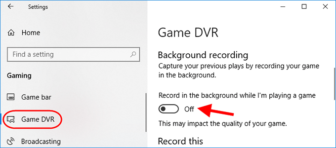 turn off game recording