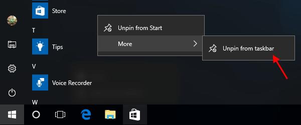 windows 10 unpin taskbar not working