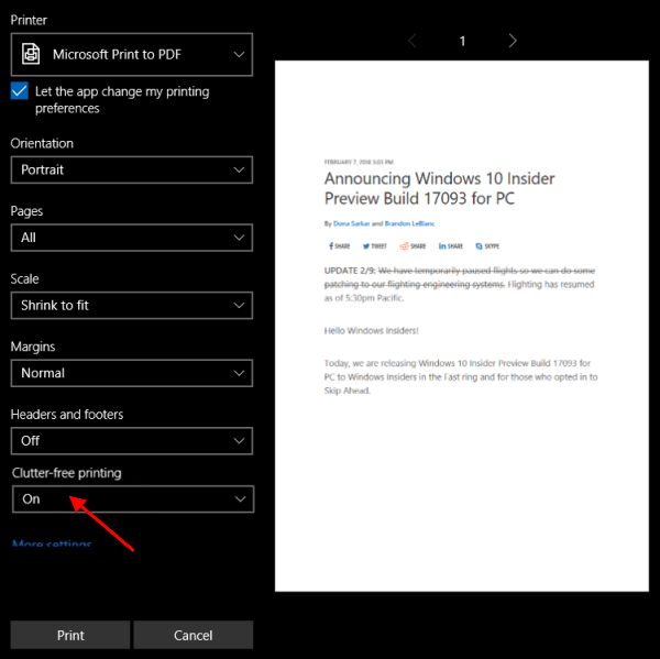 2 Ways to Print Web Page without Ads in Windows 10 Edge