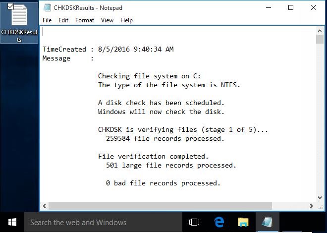Read the latest Event Viewer log for Chkdsk