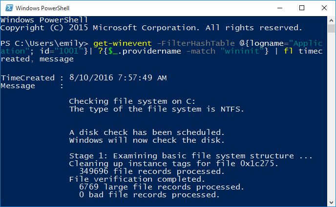 To read Chkdsk log in Powershell