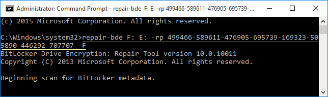 Repair BitLocker drive use recovery key