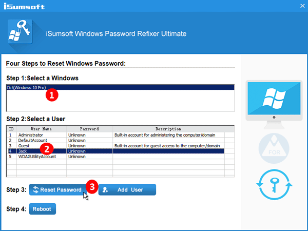 select user account and click reset password
