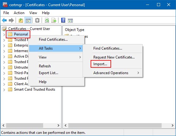 Import certificate from backup file