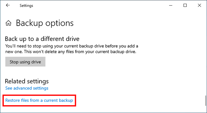 restore files from current backup