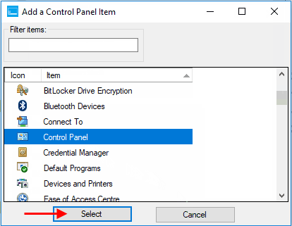 how to get to control panel win 10 creator update
