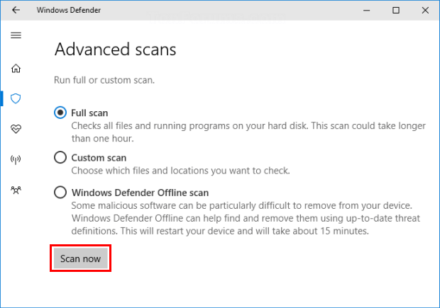 Run a scan with Windows Defender Security Center app