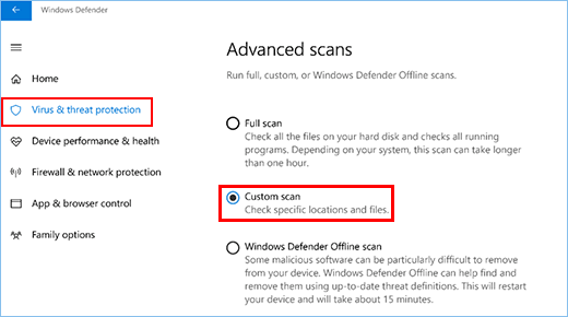 Run a Virus Scan with Windows Defender Security Center App in Windows 10