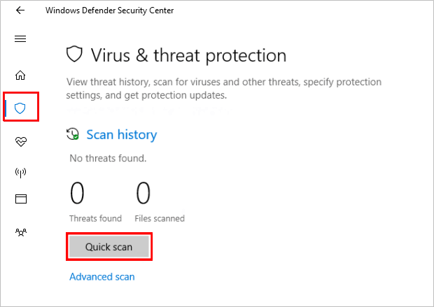 Run a Virus Scan with Windows Defender Security Center App