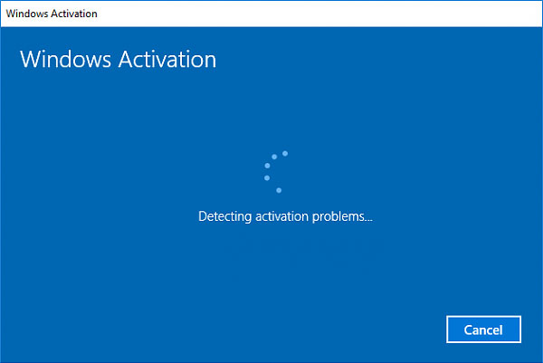 activation troubleshooter detecting problem