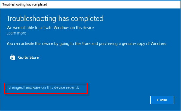 changed hardware recently Windows 10