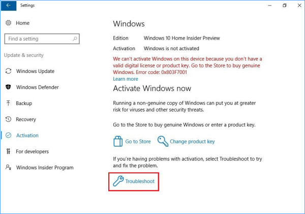 windows wont activate with valid key
