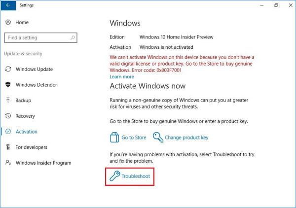 windows 10 insider preview license key