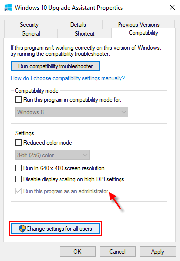Change settings for all users