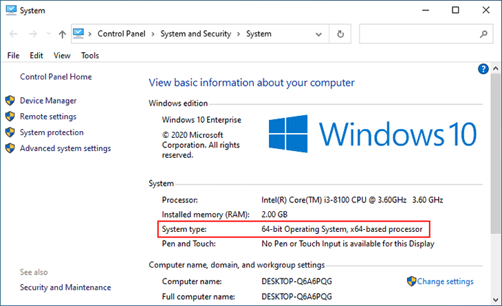 View Windows 10 System type is 32-bit or 64-bit