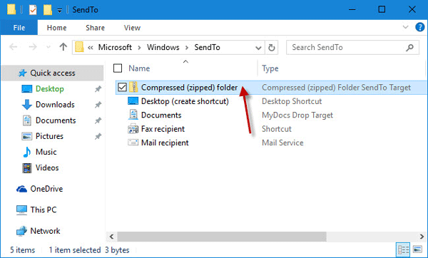 windows 10 send to compressed folder not working
