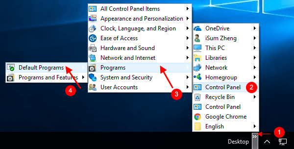 Access to Default Programs from Desktop toolbar