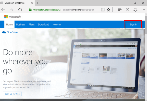 sign in onedrive wth microsoft account