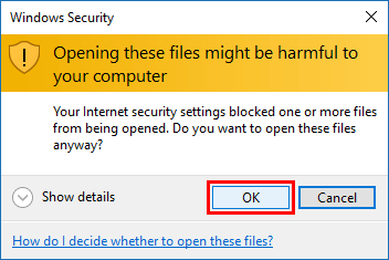 Click OK to finish copying files