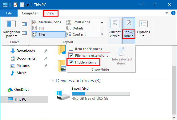 Display the hidden files and folders